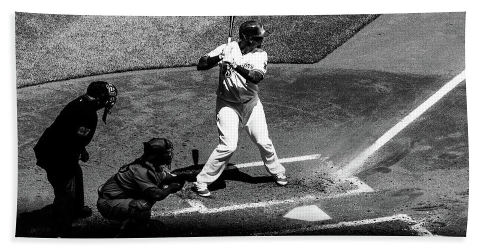 Martín Maldonado Bath Sheet featuring the photograph Brewers' Martin Maldonado At Bat by Vincent Buckley