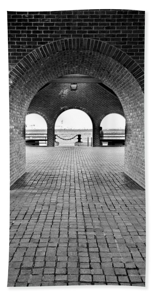 Arch Hand Towel featuring the photograph Brick Arch by Greg Fortier