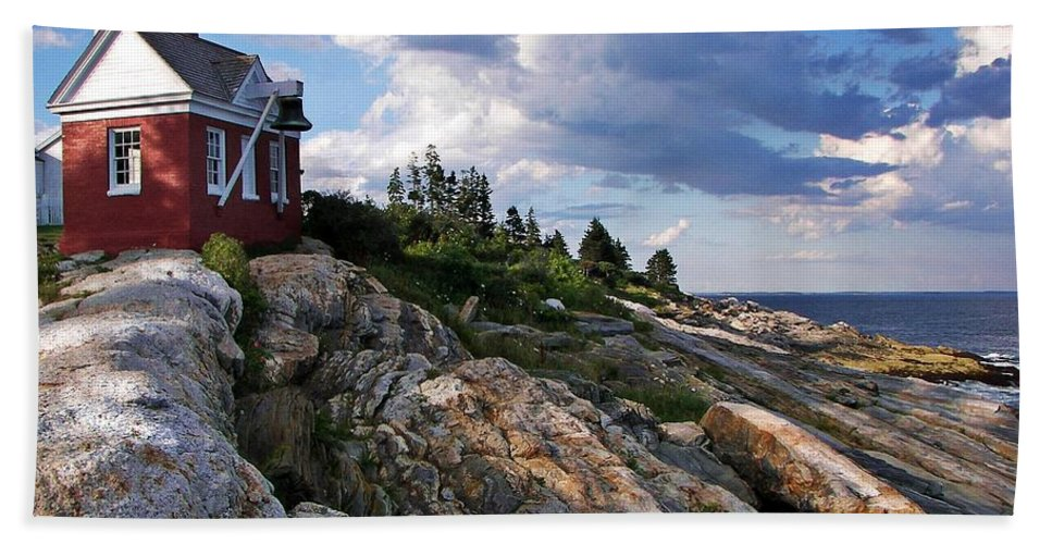 Brick Bell House At Pemaquid Point Light Hand Towel featuring the photograph Brick Bell House At Pemaquid Point Light by Joy Nichols