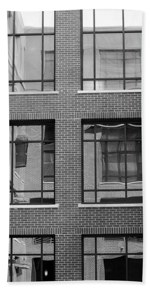 Black And White Bath Sheet featuring the photograph Brick Building Black And White by Jill Reger