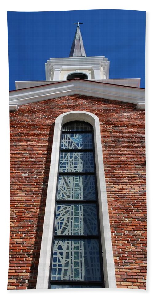 Architecture Bath Towel featuring the photograph Brick Church by Rob Hans