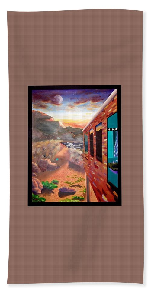 Landscape Hand Towel featuring the painting Brick House On A Beach by Che Hondo