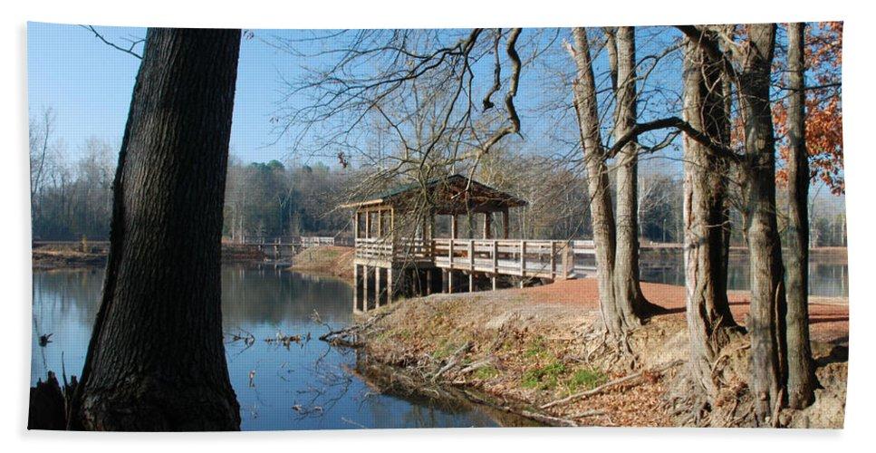 Pond Bath Sheet featuring the photograph Brick Pond Park by Kay Lovingood