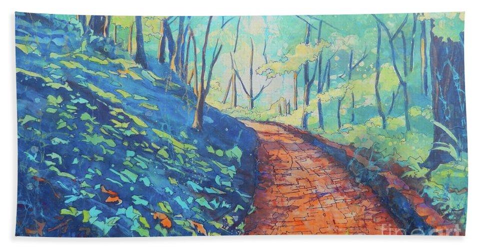 Batik Bath Sheet featuring the painting Brick Walk by Sarah Luginbill