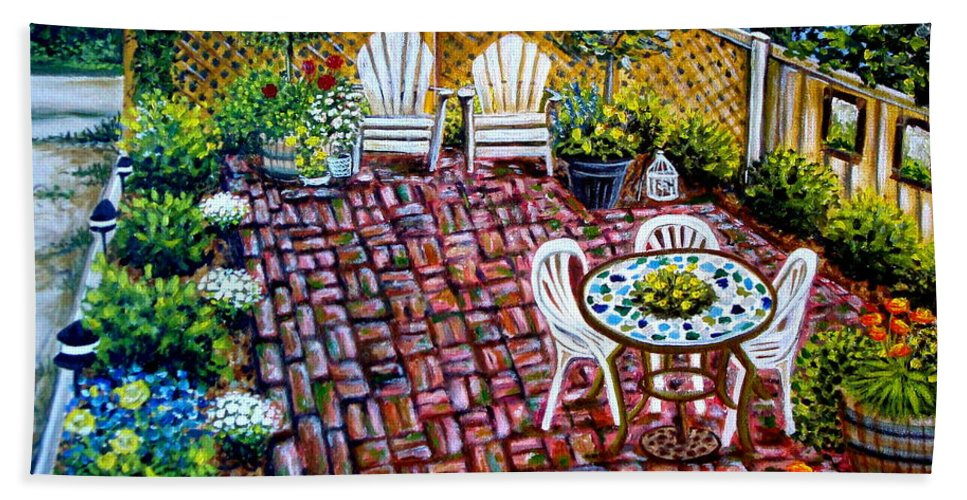 Landscape Bath Towel featuring the painting Brickwork by Elizabeth Robinette Tyndall