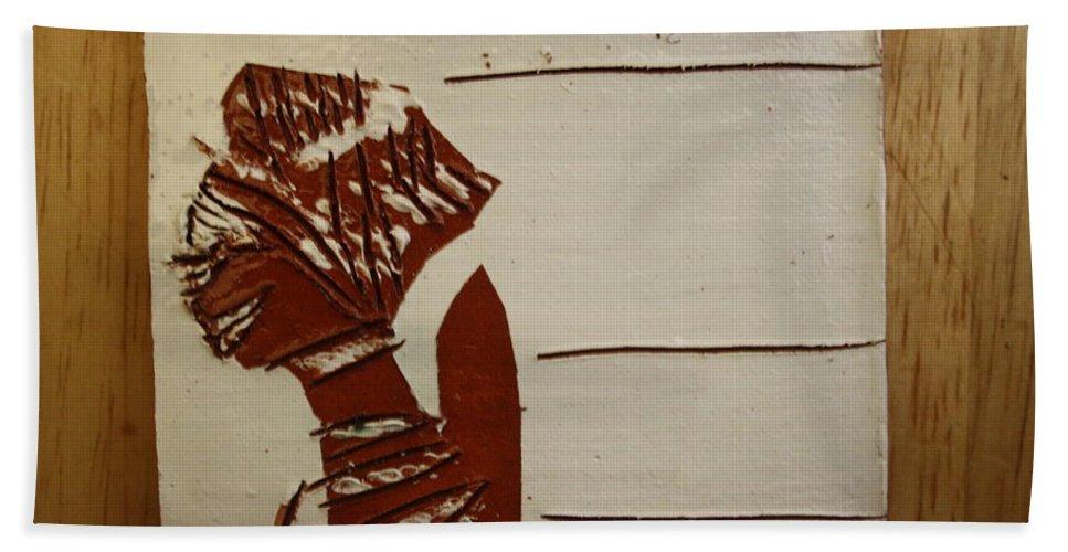 Jesus Bath Sheet featuring the ceramic art Bride 1 - Tile by Gloria Ssali