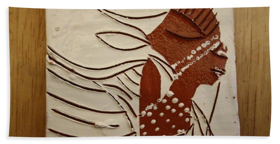 Jesus Bath Sheet featuring the ceramic art Bride 11 - Tile by Gloria Ssali