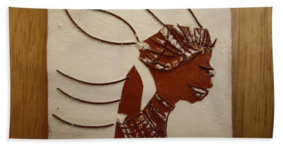 Jesus Hand Towel featuring the ceramic art Bride 12 - Tile by Gloria Ssali