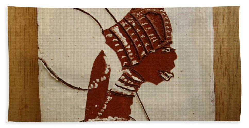 Jesus Bath Sheet featuring the ceramic art Bride 4 - Tile by Gloria Ssali