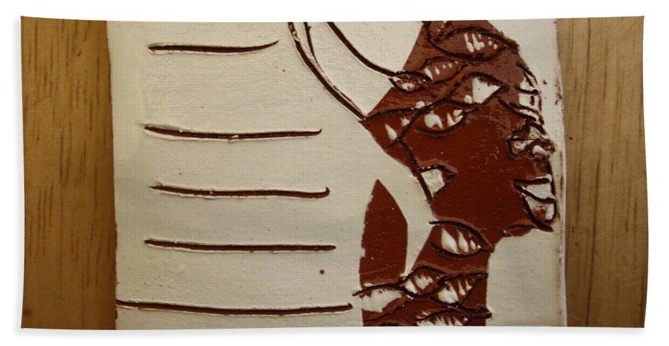 Jesus Hand Towel featuring the ceramic art Bride 8 - Tile by Gloria Ssali
