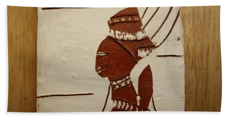 Jesus Hand Towel featuring the ceramic art Bride 9 - Tile by Gloria Ssali