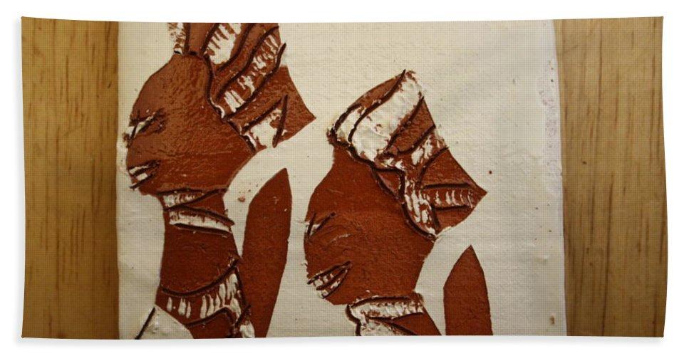 Jesus Bath Sheet featuring the ceramic art Brides Await - Tile by Gloria Ssali