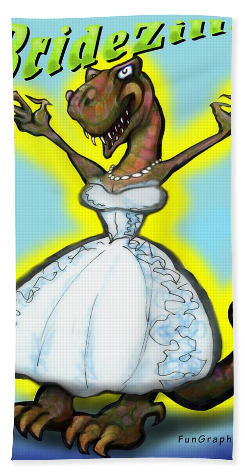 Bridezilla Hand Towel featuring the greeting card Bridezilla by Kevin Middleton