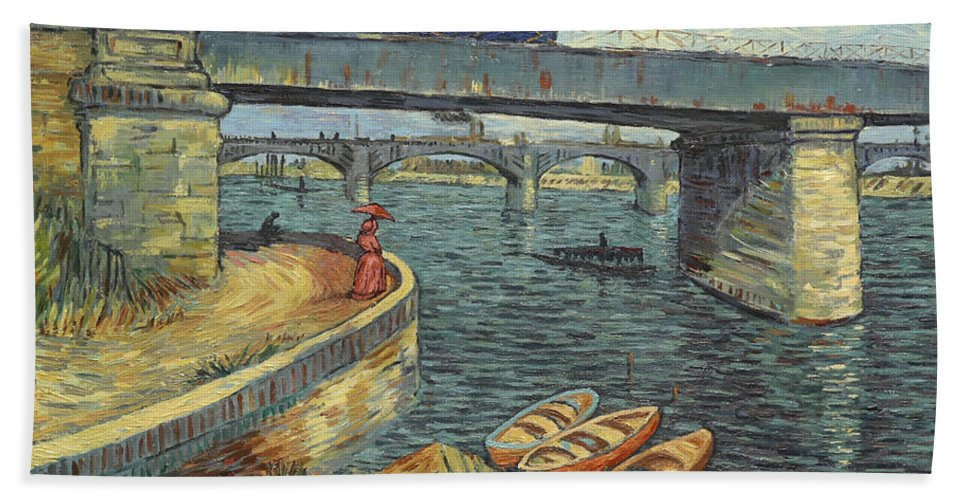 Hand Towel featuring the painting Bridge Across The Seine At Asnieres by Anna Kluza