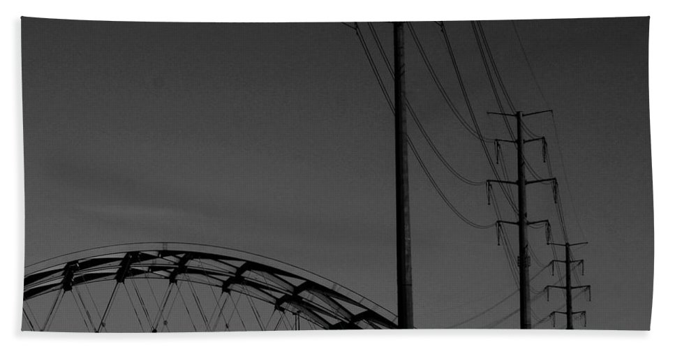 Metal Structures Bath Towel featuring the photograph Bridge And Power Poles At Dusk by Angus Hooper Iii