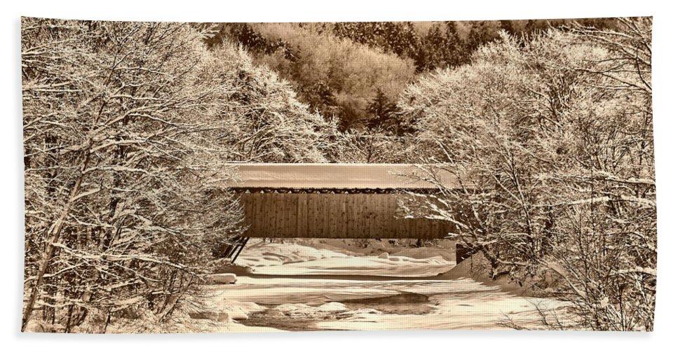 Coveredbridge Hand Towel featuring the photograph Bridge In Sepia by Deborah Benoit