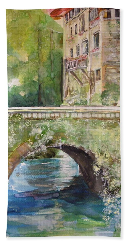 Rock Building Bath Sheet featuring the painting Bridge In Spain by Robin Miller-Bookhout