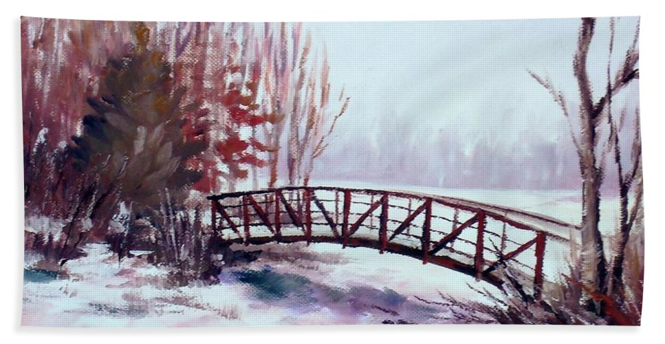 Bridge Bath Sheet featuring the painting Snowy Span by K M Pawelec