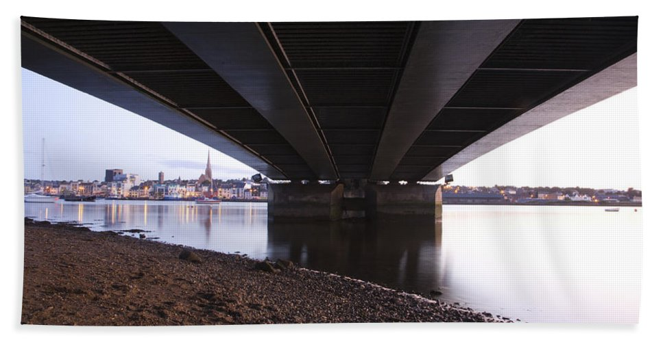 Coast Bath Sheet featuring the photograph Bridge Over Wexford Harbour by Ian Middleton