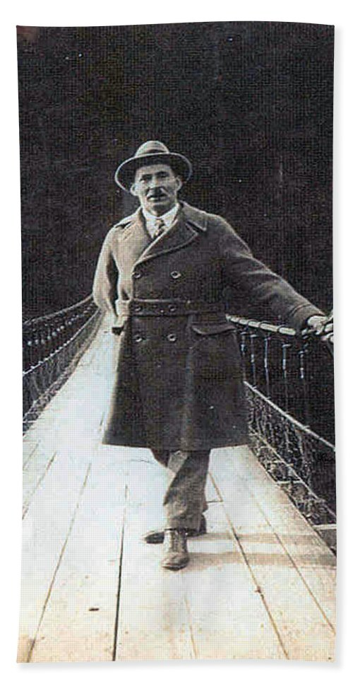 Bridge Man Classic Black And White Old Photo Pioneers Old Days 1900s Bath Sheet featuring the photograph Bridge To Dreams by Andrea Lawrence