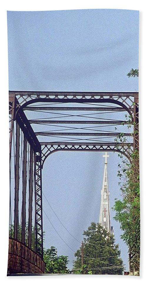 Church Bath Sheet featuring the photograph Bridge To God by Gary Wonning