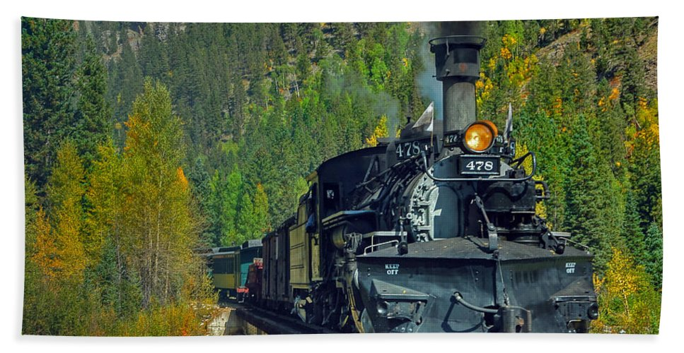 Steam Train Photographs Bath Sheet featuring the photograph Bridge View by Ken Smith