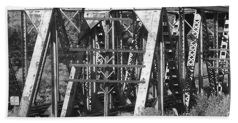 Bridge Hand Towel featuring the photograph Bridges Of Power by Pat Turner