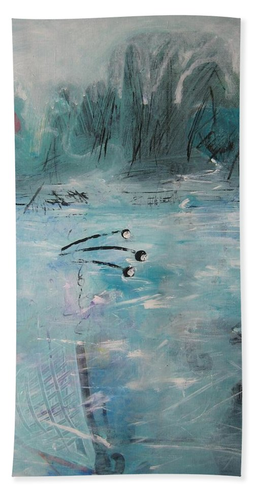 Abstract Paintings Bath Sheet featuring the painting Brierly Beach by Seon-Jeong Kim