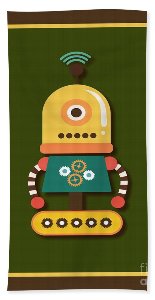 Retro Hand Towel featuring the digital art Bright And Colorful Robot Toy by Alondra Hanley
