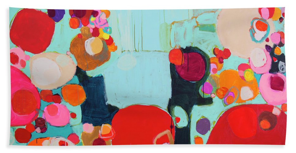 Abstract Hand Towel featuring the painting Bright As Quiet by Claire Desjardins