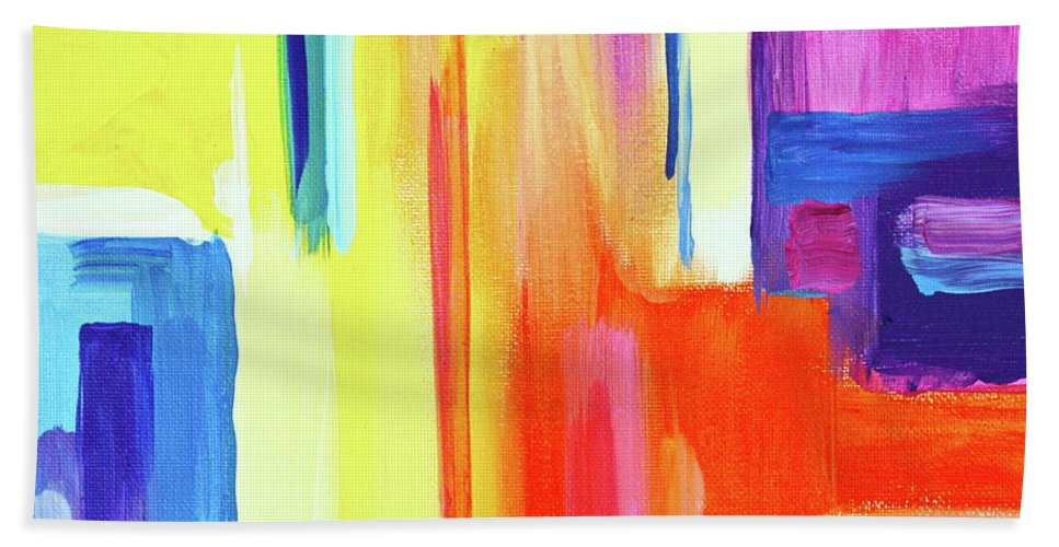 Compelling Vibrant Colorful Minamilist Artwork Consisting Of Mostly Blocky Rectangular Areas . Bath Towel featuring the painting Bright Blocks by Priscilla Batzell Expressionist Art Studio Gallery