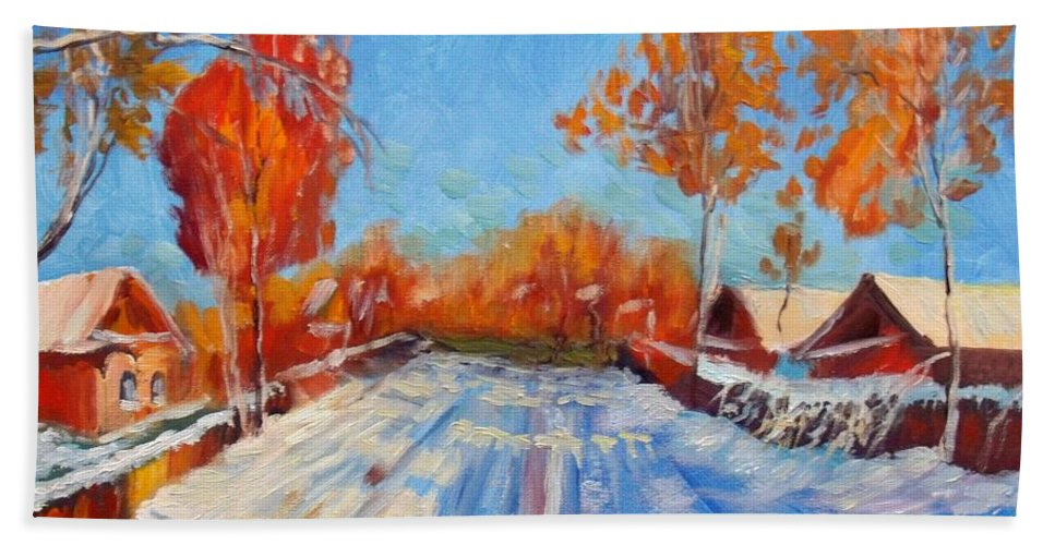 Winter Bath Sheet featuring the painting Bright Day by Elena Sokolova