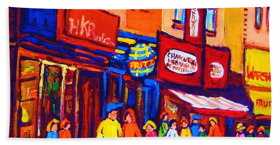 Schwartz's Hebrew Deli Bath Sheet featuring the painting Bright Lights On The Main by Carole Spandau