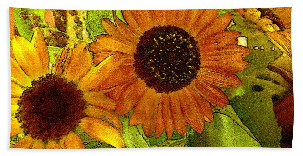 Sunflowers Bath Towel featuring the digital art Bright Regalia by RC deWinter