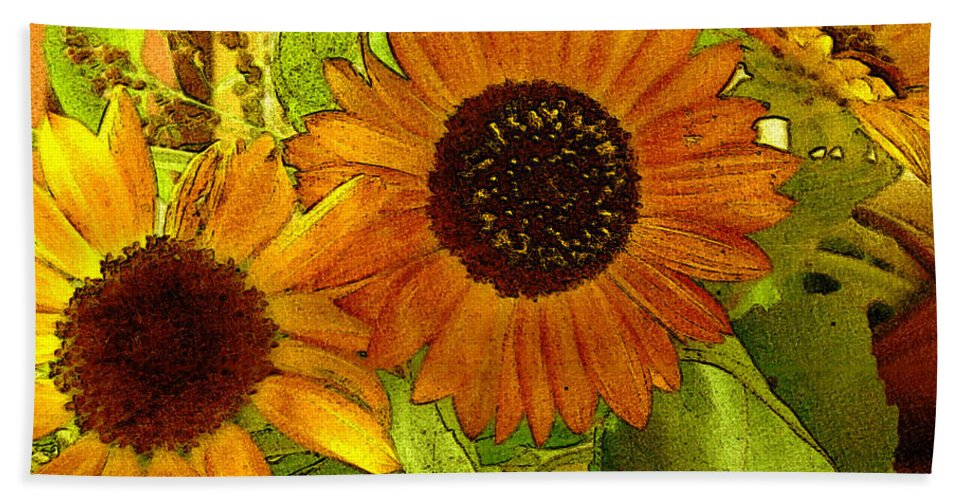 Sunflowers Bath Sheet featuring the digital art Bright Regalia by RC DeWinter