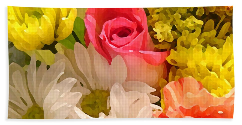 Floral Bath Sheet featuring the painting Bright Spring Flowers by Amy Vangsgard