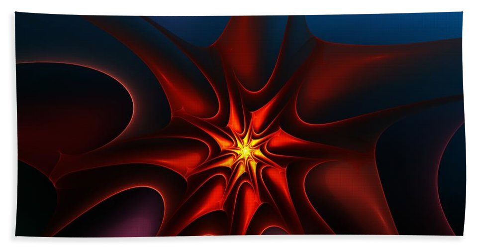 Abstract Hand Towel featuring the digital art Bright Star by David Lane