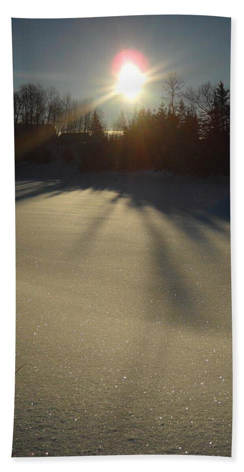 Sun Hand Towel featuring the photograph Bright Sun On Fresh Snow by Kent Lorentzen