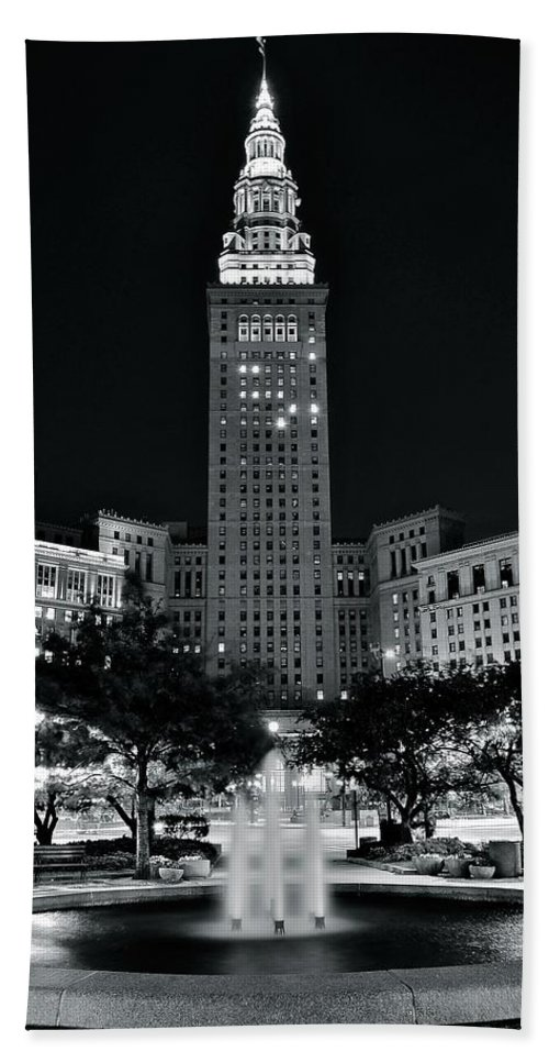 Cleveland Bath Sheet featuring the photograph Bright White Lights At Night by Frozen in Time Fine Art Photography