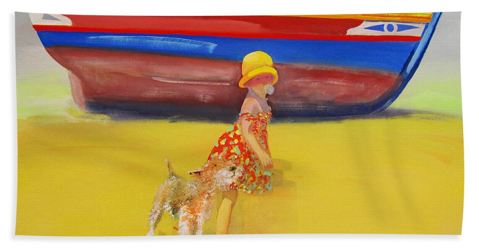 Wire Haired Fox Terrier Bath Towel featuring the painting Brightly Painted Wooden Boats With Terrier And Friend by Charles Stuart