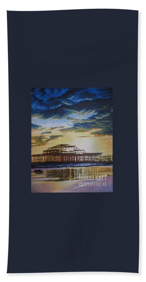 Brighton West Pier Derelict Victorian Sad Beach Sand Sunset Bath Towel featuring the painting Brighton West Pier by Pauline Sharp