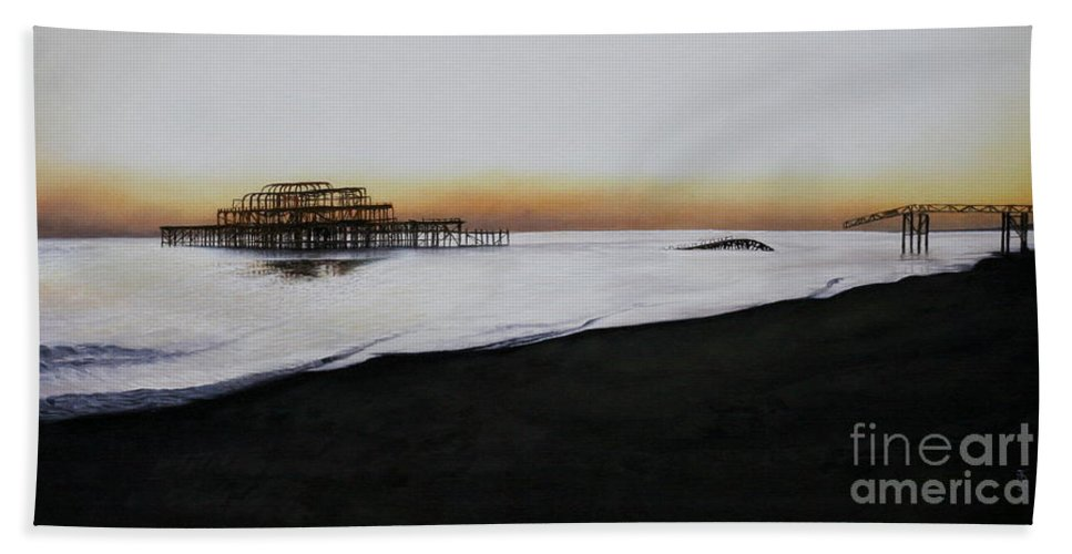 Oil Bath Towel featuring the painting Brighton West Pier-tranquil Sunset by Pauline Sharp
