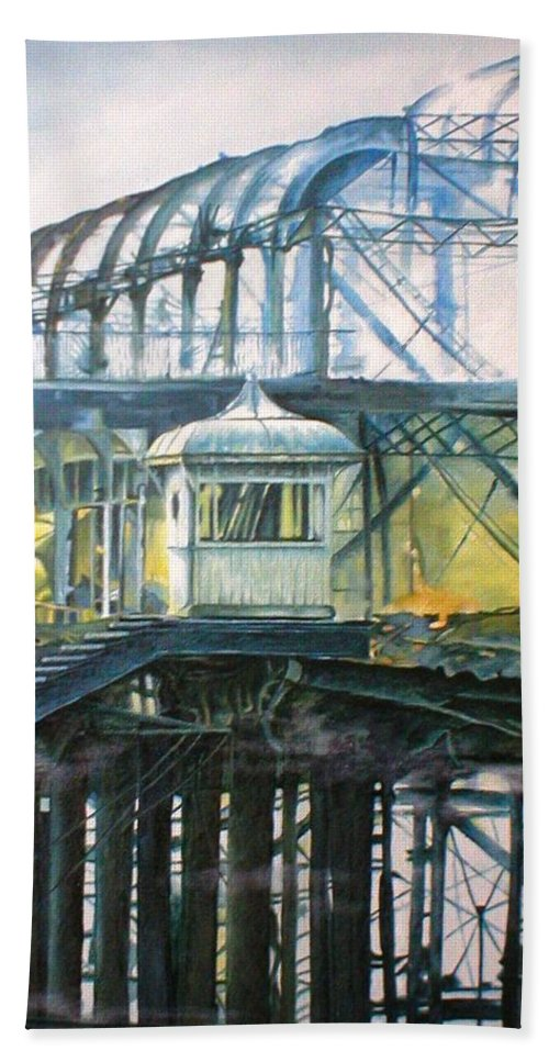 Brighton West Pier Fire Flames Escape Smoke Hut Survivor Arson Bath Towel featuring the painting Brighton's West Pier-lone Survivor by Pauline Sharp