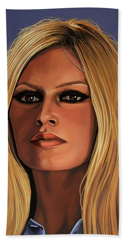 Brigitte Bardot Bath Towel featuring the painting Brigitte Bardot Painting 3 by Paul Meijering