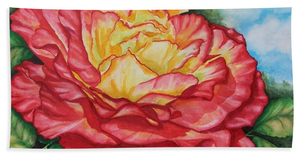 Rose Hand Towel featuring the painting Brilliant Bloom by Conni Reinecke