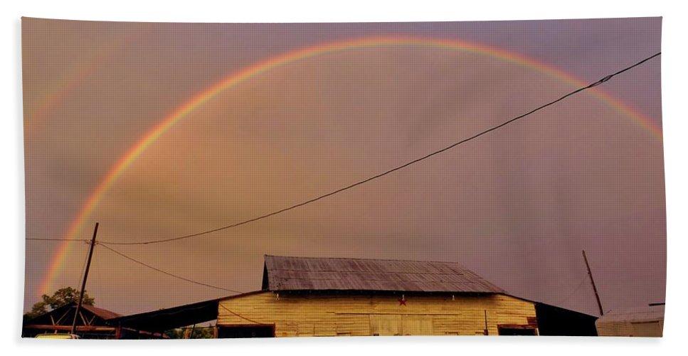 Nature Bath Sheet featuring the photograph Brilliant Evening Double Rainbow by Matt Taylor