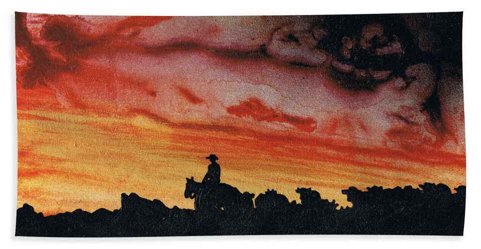 Landscape Hand Towel featuring the painting Bringing Them Home by Stacey Austin