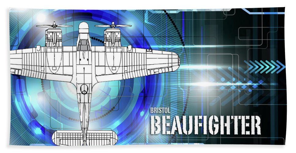 Bristol Bath Towel featuring the digital art Bristol Beaufighter Blueprint by J Biggadike