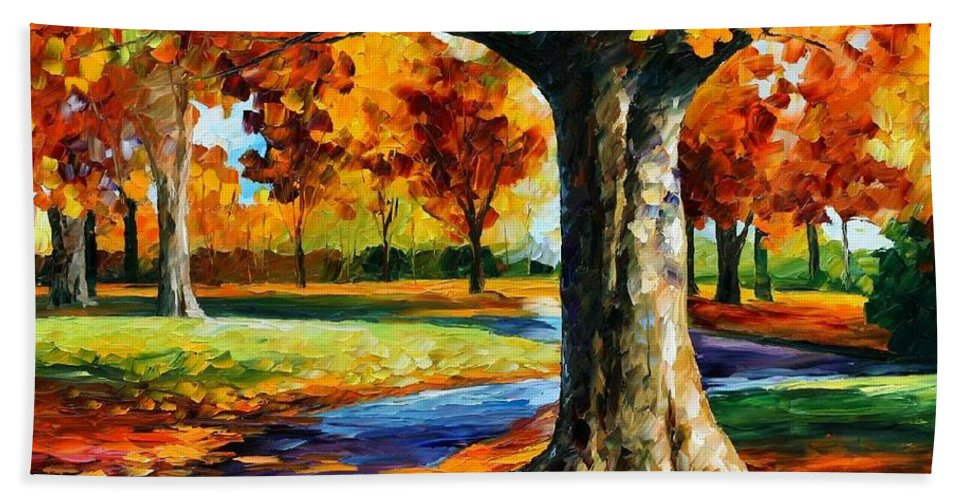Afremov Bath Sheet featuring the painting Bristol Fall by Leonid Afremov