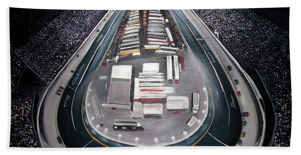 Racing Hand Towel featuring the painting Bristol Motor Speedway Racing The Way It Ought To Be by Patricia L Davidson